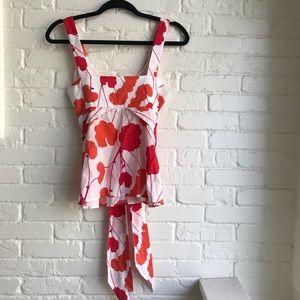 Anthropologie Marimekko red orange tank blouse 4